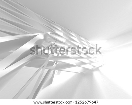 Abstract Modern White Architecture Background. 3d Render Illustration #1252679647