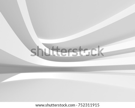 Abstract Modern White Architecture Background. 3d Render Illustration