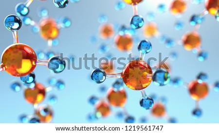 abstract molecule, 3d illustration