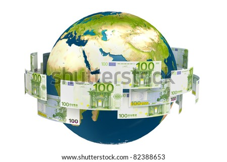 abstract money flying around the world