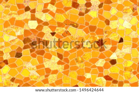 Abstract mosaic background. Hand drawn abstract golden artwork in style of Gustav Klimt painting