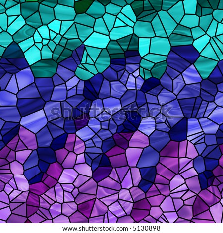 stock photo : Abstract mosaic in cool colors of teal, blue and purple.