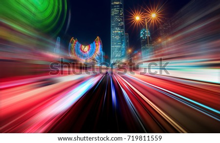 Abstract Motion Blur City #719811559