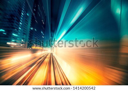 Abstract motion  blur in railway tunnel #1414200542