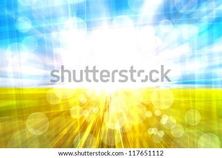 Abstract motion blurred meadow and sky with light reflect - stock photo