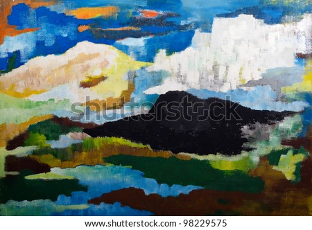 abstract mountain landscape - original painting oil on wood - stock photo