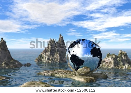 abstract  mountain with earth globe on a sunny day