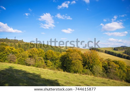 Abstract mountainside with trees. The Carpathian Mountains. Ukraine. #744615877