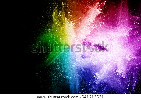 abstract multi-color powder splatted background,Freeze motion of color powder exploding/throwing color powder,color glitter texture on black background