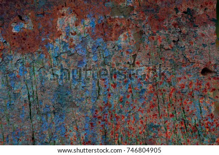 Abstract multicolor grunge background with abstract colored texture. Various color pattern elements. Old  vintage scratches, stain, paint splats, brush strokes, dots, spots. Weathered wall backdrop #746804905