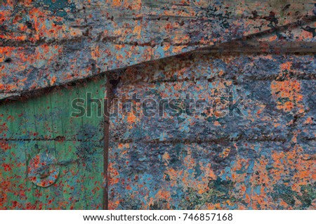 Abstract multicolor grunge background with abstract colored texture. Various color pattern elements. Old  vintage scratches, stain, paint splats, brush strokes, dots, spots. Weathered wall backdrop #746857168