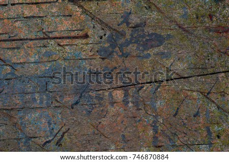 Abstract multicolor grunge background with abstract colored texture. Various color pattern elements. Old  vintage scratches, stain, paint splats, brush strokes, dots, spots. Weathered wall backdrop #746870884