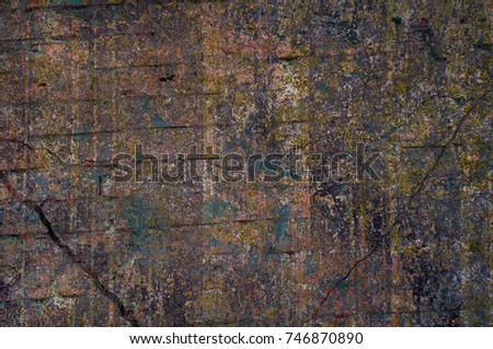 Abstract multicolor grunge background with abstract colored texture. Various color pattern elements. Old  vintage scratches, stain, paint splats, brush strokes, dots, spots. Weathered wall backdrop #746870890