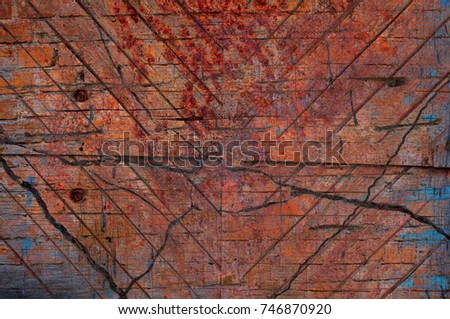 Abstract multicolor grunge background with abstract colored texture. Various color pattern elements. Old  vintage scratches, stain, paint splats, brush strokes, dots, spots. Weathered wall backdrop #746870920
