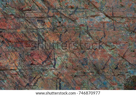 Abstract multicolor grunge background with abstract colored texture. Various color pattern elements. Old  vintage scratches, stain, paint splats, brush strokes, dots, spots. Weathered wall backdrop #746870977