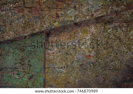Abstract multicolor grunge background with abstract colored texture. Various color pattern elements. Old  vintage scratches, stain, paint splats, brush strokes, dots, spots. Weathered wall backdrop #746870989
