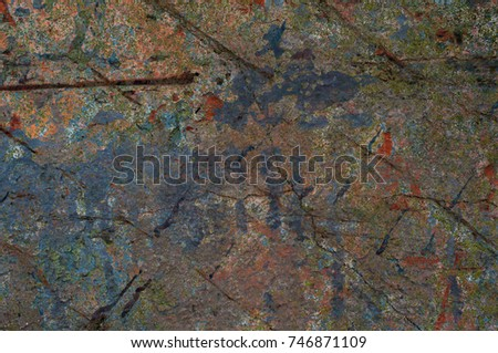 Abstract multicolor grunge background with abstract colored texture. Various color pattern elements. Old  vintage scratches, stain, paint splats, brush strokes, dots, spots. Weathered wall backdrop #746871109