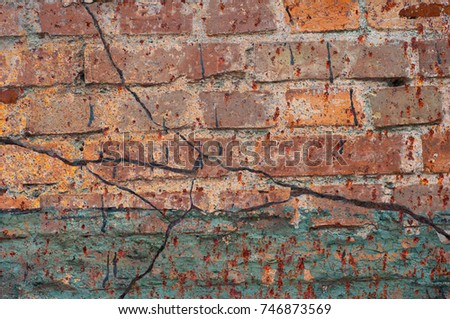 Abstract multicolor grunge background with abstract colored texture. Various color pattern elements. Old  vintage scratches, stain, paint splats, brush strokes, dots, spots. Weathered wall backdrop #746873569