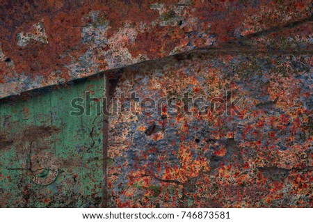 Abstract multicolor grunge background with abstract colored texture. Various color pattern elements. Old  vintage scratches, stain, paint splats, brush strokes, dots, spots. Weathered wall backdrop #746873581