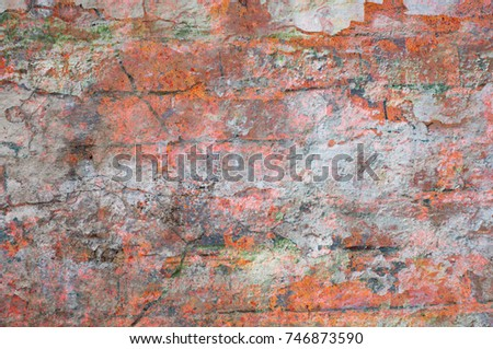 Abstract multicolor grunge background with abstract colored texture. Various color pattern elements. Old  vintage scratches, stain, paint splats, brush strokes, dots, spots. Weathered wall backdrop #746873590
