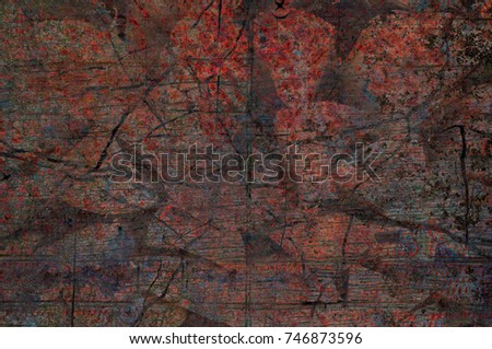 Abstract multicolor grunge background with abstract colored texture. Various color pattern elements. Old  vintage scratches, stain, paint splats, brush strokes, dots, spots. Weathered wall backdrop #746873596