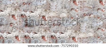 Abstract multicolor grunge background with abstract colored texture. Various color pattern elements. Old vintage scratches, stain, paint splat, brush stroke, spots. Horizontal weathered wall backdrop #757290310