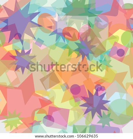 Abstract multicolored background of different shapes - seamless texture