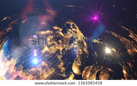 Abstract multicolored background, shiny space, futuristic abstract shapes and wave illustration. Explosion of stars in space. Illustration planets in distant solar system in space. #1361085458
