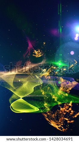 Abstract multicolored background, shiny space, futuristic abstract shapes and wave illustration. Explosion of stars in space. Illustration planets in distant solar system in space. #1428034691
