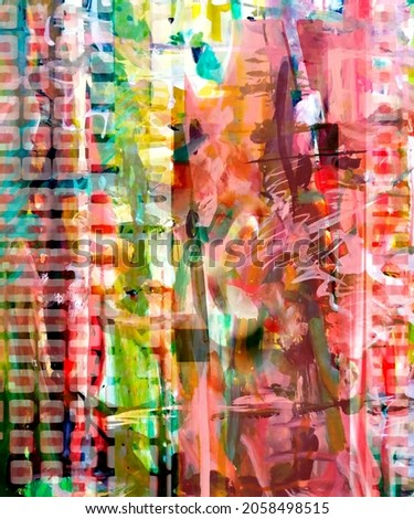 Abstract multicolored design with watercolor and texture elements