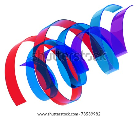 abstract multicolored ribbons isolated over white