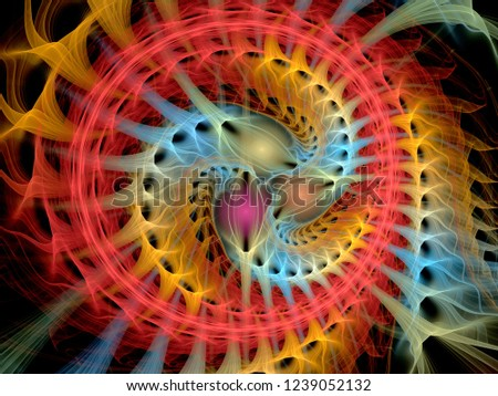 Abstract multicolored spiral fractal pattern. Computer generated graphics.