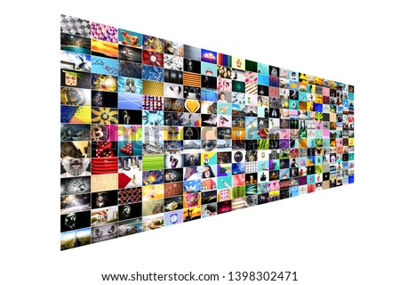 Abstract multimedia background made from multiple colorful images #1398302471