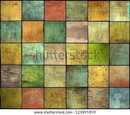 abstract multiple color square tile grunge pattern backdrop