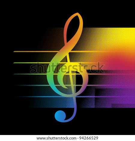 Abstract Music Background With Treble Clef Close-Up Bitmap Illustration