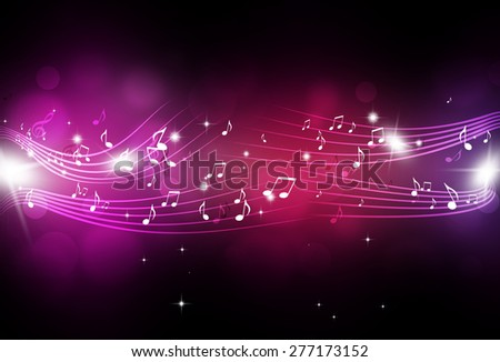 abstract music notes and blurry lights on bright multicolor background