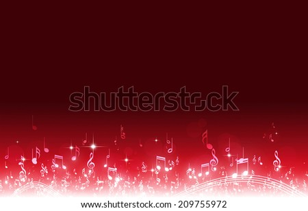 abstract music notes on dark red background