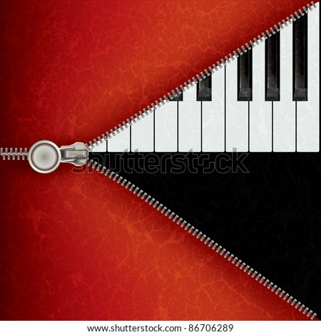 abstract music red background with piano and open zipper