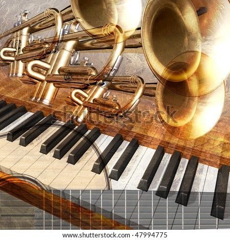 abstract musical background guitar trumpet and piano