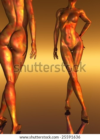 Abstract naked girls - digital artwork - stock photo