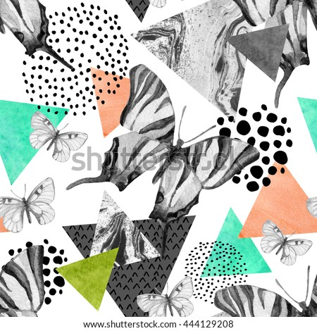 Abstract natural geometric seamless pattern. Triangles with butterfly and marble grunge textures. Geometrical background in retro vintage 80s 90s pop art. Hand drawn summer natural illustration
