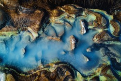Abstract nature background. Colorful vibrant puddle in Iceland