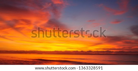 Abstract nature background. Dramatic and moody pink, purple and blue cloudy sunset and sunrise sky. #1363328591