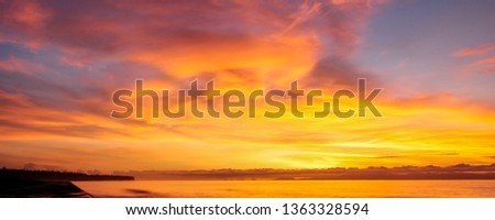 Abstract nature background. Dramatic and moody pink, purple and blue cloudy sunset and sunrise sky. #1363328594