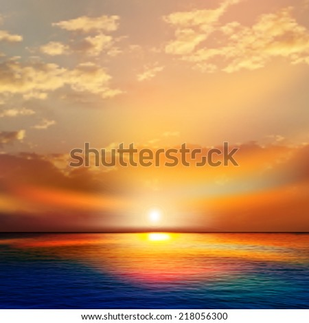 abstract nature background with sea red sunset and clouds #218056300