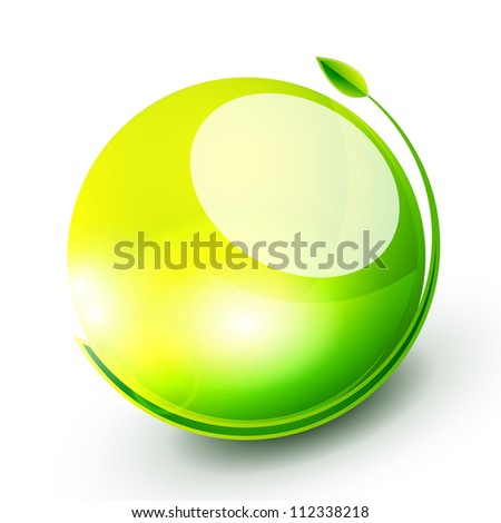 Abstract nature icon with leaf and color sphere