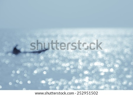 Abstract nature sea background - blurred kayaking on the sea at sunset #252951502