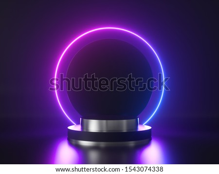 Abstract neon background. 3d pedestal, cylinder platform, shiny metallic podium with round glowing frame. Blank product showcase stand, commercial mockup with copy space. Performance stage.