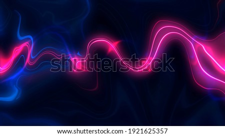Abstract neon background, liquid neon waves. Futuristic, modern neon. Night screensaver with light effect.