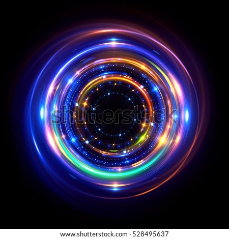 Abstract neon background. luminous swirling bunner. Glowing spiral.  Shine round frame with light circles light effect. Glowing cover.  Space for your message. Glossy. LED ellipse stock photo